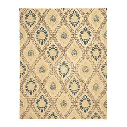 Safavieh - Antiquities Yellow/Multi Area Rug AT460A - 4' x 6' - The elegant designs and rich colors of these rugs are inspired from 19th century antique Persian rugs. A special herbal wash gives these rugs their luster and an aged patina. This collection is hand tufted in India of 100% hand-spun premium wool.