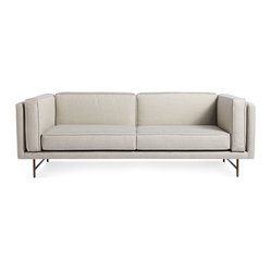 "Blu Dot - ""Blu Dot Bank 80"""" Sofa, Linen-Brass"" - ""Stately proportions, piped cushions and a generous seat depth will have you holding court. Choose either blackened metal or brass legs. Available in four fabrics options"""