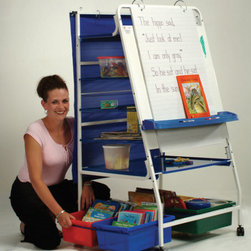 """Copernicus - Expanded Storage Royal Reading / Writing Center (30""""W) - NOTE: All Whiteboards with dimensions smaller than 3' x 4' will ship Small Parcel. All boards 3' x 4' or larger will ship Truck Freight. Double the storage capacity of the """"Original"""" Royal Reading / Writing Center, but requires no additional floor space! The Expanded Storage units are designed with the features teachers want. Features: -Two magnetic """"Page Paws"""" hold big books in place -Standard comes with four open tubs for extra storage -PTP1 Upgrade option comes with eight small tubs for extra storage -PTP2 Upgrade option comes with two small tubs, one open tub and two divided tubs for extra storage -New spring-loaded adjustable """"Ultra-Safe"""" Premium Book Ledge made of ABS plastic locks into five convenient positions -New lifetime warranty on frame and tubs -Magnetic dry erase board on front supports chart pads -Tubs are on sliding racks for improved accessibility -Full size metal shelf with built-in marker storage -""""Outta Reacher For The Teacher"""" top shelf with built-in marker tray -Three middle wire shelves -Two telescoping hooks accommodate pocket charts up to 52"""" wide -Two magnetic bulldog clips -""""Snap-on"""" chart paper and accessory hooks for pocket chairs, etc. -Four locking casters -Note: Simple assembly required -Overall Dimensions: 57"""" H x 30"""" W x 28"""" D"""
