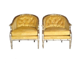 Pre-owned Faux Bamboo Tufted Slipper Chairs - A Pair - We've got a weakness for all things sparkly, so naturally these original Hollywood Regency tub chairs had us at hello!  They have rounded faux bamboo frames and are finished in a champagne platinum gold paint. The original tufted velvet upholstery is luxurious and ultra glam - the perfect accent chair pair for any designer home.