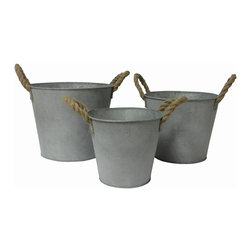 Cheung's - Galvanized Metal Bucket with Rope Handle - Set of 3 - Material: Metal and Rope. Color: Galvanized Gray and Brown. Nested for Space Saving.  Rope Handle.  Rounded Bucket Lip. Large: 12 in. L x 12 in. W x 10 in. H. Medium: 10.5 in. L x 10.5 in. W x 9 in. H. Small: 8.75 in. L x 8.75 in. W x 7.75 in. H. Weight: 3.3 lbs.