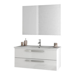 ACF - 38 Inch Glossy White Bathroom Vanity Set - Set Includes: Vanity Cabinet (2 Drawers).