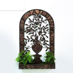 Le Jardin Floral Urn Wall Planter - Accentuate the best of your home decor with kitchen art to inspire your inner chef and gardener. Each wall planter urn is handcrafted and hand-finished from iron - this means your plants can flourish in something stable, durable, and reliable. A saying in French is displayed beautifully at the top, and elaborate scrollwork wraps around the urn with 2 place settings for your flowers and plants. This kitchen art is meant for indoor decoration only because the entirety of the iron is untreated - however, if you prefer outdoor decor, you can polish this wall planter urn with a protective-coating from home.
