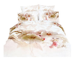 Dolce Mela - 6 Piece 100% Cotton Duvet Cover Set, Dolce Mela - Apple Blossom DM459Q , DM459K, - Revitalize your bedroom's decor with the soft colors of the gorgeous apple blossom flowers painted on your bed and create the utmost serene setting.