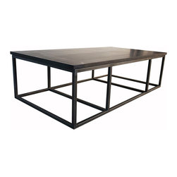 Stone Coffee Table with Metal - Massive in scale yet open in design, the Stone Coffee Table provides generous surface space while keeping a room feeling large. The ancient luxury and authority of slab stone comprises the top of this simple yet magnificent pared-down cocktail table, while its legs are an open box of metal joined by stretchers at the floor level for an attractive and sturdy grid. Use this piece in a transitional room where impact comes from scale and proportion, not ornamentation.