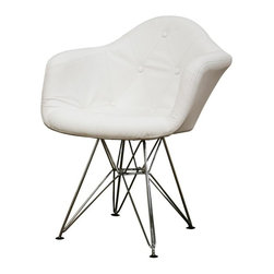 Wholesale Interiors - Baxton Studio Lia Tufted Faux Leather Arm Chair with Eiffel Base - Set of 2 - This arm chair is a modern study of the traditional button-tufted club chair. Each chair features a lightly padded and fully-upholstered seat in white leather-matched vinyl. The soft panels of material are sewn together and accented at the corners with matching buttons to mimic traditional, classic furnishings. Underneath, the chairs base is robust steel with high-shine chrome finish. Black plastic feet are included for stabilization. This design is also available as a side chair.