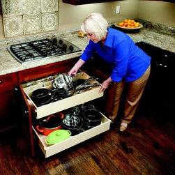 Double-Height Pull Out Shelves - Add great storage for your pots and pans with double-height pull out shelves from ShelfGenie of Greenville installed right under your stove top.