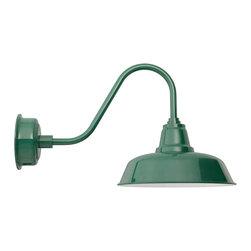 "Cocoweb - 14"" Goodyear Gooseneck Barn Light, Vintage Green, 14 - BODY SHAPE"