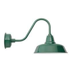 "Cocoweb - 14"" Goodyear Gooseneck Barn Light, Vintage Green, 14 - BODY SHAPE"