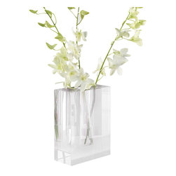 Dixon Crystal Block Vase - Turn any arrangement of a few blooms or a handful of greenery stems into a precise work of transitional art with the geometry of the Dixon Crystal Block Vase. Faceted precisely from clear glass into a simple prism with a chamber for water, the transparent vase transmits light to turn every inch of a flower from the cut stem to the blooming head into an integral part of the arrangement.