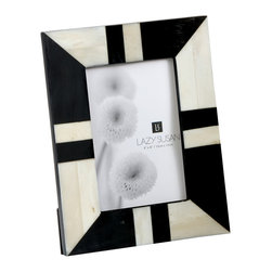 "Lazy Susan - Black And White Horn And Bone Frame - -Use 4""X 6"" Photo"