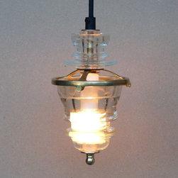 brass suspended insulator light- aqua - railroadware