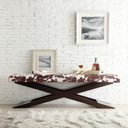 INSPIRE Q Bosworth Cowhide Print Wood X Base Bench -