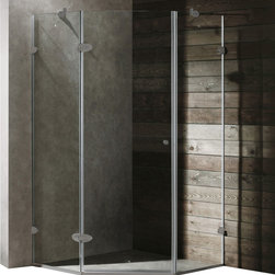 Vigo - Vigo 38 x 38 Frameless Neo-Angle 3/8in.  Clear/Brushed Nickel Shower Enclosure - Both dramatic and space-saving, the Vigo frameless neo-angle shower enclosure creates a beautiful focal point for your bathroom.