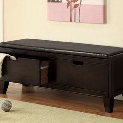 Coaster - Storage Bench, Dark Walnut - Keep your bedroom, living room or entryway organized with this padded storage bench. Finished in a dark walnut, this piece will complement most items in your home. Features two pull-out storage drawers.