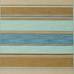 Jaipur Rugs - Flat Weave Stripe Pattern Blue Wool Handmade Rug - CC06, 2x3 - Fashion-forward color and a soft texture highlight the relaxed sophistication of the Coastal Living Dhurries Collection. Ideal for any casual lifestyle, the boldly striped, flat-woven pieces are easily cleaned - ideal for lounging after a day spent at the beach.