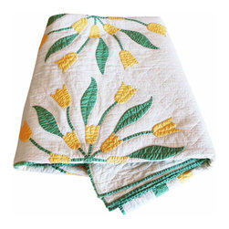 Yellow Tulip Quilt - A bright and sweet hand made quilt with yellow tulip appliqué and double border trim in green and yellow. A perfect accent for a bedroom! In perfect antique condition.