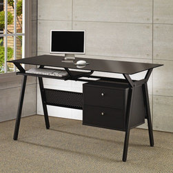 """Wildon Home � - Hartland Computer Desk with 2 Drawers - This group of desks and computer units has something for everyone. Different styles, sizes and finishes are available to suit every taste and meet your needs. Ample storage options, excellent functional features and sophisticated style come together. From compact laptop table on wheels, to large ''L'' shaped office workstation, this collection has a desk that you will love. Enjoy comfortable computing and working from home, with one of these cool desks. Simple and stylish this computer desk will make a wonderful addition in any home. The mix of black powder coated metal and black glass creates a modern looking unit that is ready to help you tackle your daily tasks. A pullout keyboard shelf lets you leave plenty of open desk space for a computer monitor and workbooks, while the two storage drawers provide the space to keep papers and necessities organized and tidily tucked away. Just add a comfy task chair of your choice and settle in to work away at this sleek and chic computer desk. Features: -Computer desk.-Black powder coated metal and black glass.-Pullout keyboard tray and two storage drawers.-Two storage drawers.-Metal and glass construction.-Hartland collection.-Distressed: No.-Collection: Hartland.Dimensions: -Dimensions: 30.34''-30.75'' Height x 55'' Width x 23.5'' Depth.-Overall Product Weight: 73.7 lbs.-Overall Width - Side to Side: 55"""".-Overall Depth - Front to Back: 23.5"""".Assembly: -Assembly required."""