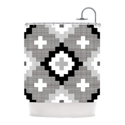 """Kess InHouse - Pellerina Design """"Linen Moroccan"""" Grey Geometric Shower Curtain - Finally waterproof artwork for the bathroom, otherwise known as our limited edition Kess InHouse shower curtain. This shower curtain is so artistic and inventive, you'd better get used to dropping the soap. We're so lucky to have so many wonderful artists that you'll probably want to order more than one and switch them every season. You're sure to impress your guests with your bathroom gallery in addition to your loveable shower singing."""