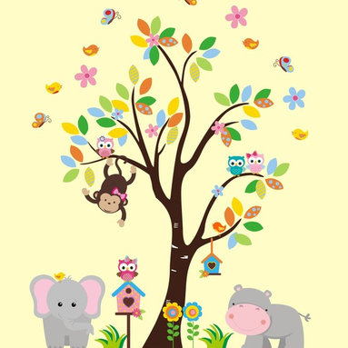 Tree with Jungle Animals Wall Decals - PRODUCT DETAILS: