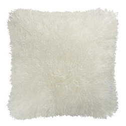 "Pelliccia 18"" Pillow with Down-Alternative Insert - Indulge in the feathery softness and silken luxury of Mongolian lamb fur. Reverses to a warm white faux suede back. Our decorative pillows include your choice of a plush feather-down or lofty down-alternative insert at no extra cost."