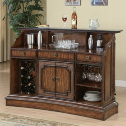Coaster - Clarendon Bar Unit in Brown - This bar features 3 drawers and a wine rack on each end, a set of cabinets, a large preparation area, and a beautiful marble counter top. Matching bar stool features faux wicker design with a leather seat.
