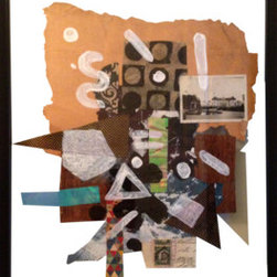 """Abstraction  [1]"" (Original) By Elliott C  Nathan - I Created This Mixed Media Painting Through A Train Of Thought Painting Process Overlaid On A Collage Of Documents From The Early 1900'S, And Patterned Papers. It Hangs In A Clear Glass Frame."