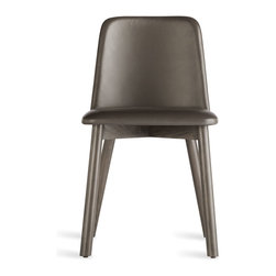 Blu Dot - Blu Dot Chip Dining Chair, Smoke / Brown Leather - No dash of flash needed. Pleasing comfort, timeless form, and a hardy build makes Chip a poised seating fix for any space. Upholstered in brown, top grain semi-aniline leather with smoke-stained wood legs.