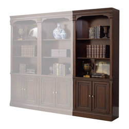Hooker Furniture - Westbury Bunching Bookcase - White glove, in-home delivery included!  Furniture assembly included!  Old World Charm meets practical in our Westbury collection.  Two adjustable shelves, two doors with one adjustable shelf behind.