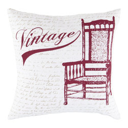 """Surya - Square Cotton Pillow LG-540 - 18"""" x 18"""" - A vintage chair is on display on this pillow. Colors of carmine, feather gray, and white accent this decorative pillow. This pillow contains a poly fill and a zipper closure. Add this pillow to your collection today."""