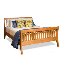 "Cherry Pond Fine Furniture - Verdana Sleigh Bed, Cherry, Queen - Modern by design, our Verdana Slatted Sleigh Bed is defined like its curves, with its' elegantly shaped headboards and footboards, it is the epitome of a timeless ""modern heirloom"" ...  classic yet contemporary."