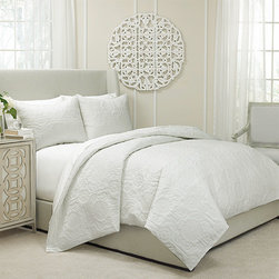 Vue - Barcelona Ivory Three-Piece Queen Quilted Coverlet and Duvet Set - - Say goodbye to the seasonal bedding swap! The Vue Barcelona Duvet and Coverlet is two bedding sets in one. This beautiful ensemble features a unique quilted design of modern floral medallions and contemporary scrolling leaves. Use as a light and breathable quilted coverlet in the summer for instant style without the weight. Once the colder months come around, insert a down comforter and use it as a stylish quilted duvet with the warmth you need. Queen set includes one 90x90 coverlet/duvet and two 20x26 standard shams.  - Button-top closure  - Ensemble is 100% cotton and machine washable Vue - 13811BEDDQUEIVY