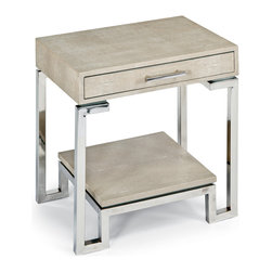 Kathy Kuo Home - Millicent Coastal Beach Ivory Grey Shagreen Silver Table Nightstand - Opposites are attractive in this polished chrome and grey, textured faux shagreen nightstand. The soft, subtle matte material covering the tabletop and shelf below is in stark contrast to the sleek, polished silver base. A slim drawer, detailed with a thin chrome handle, is a small treasure trove for your favorite indulgences.