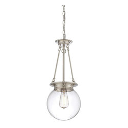 Savoy House Lighting - Savoy House 7-3300-1-109 Glass Filament 1 Light Pendant, Polished Nickel - Salute the bygone days of incandescent illumination with these exceptional  Savoy House glass pendants. The nostalgic bulbs are on full display inside clear glass globes in 1- or 3-light styles. Available in English  Bronze ,  Polished Nickel, and Satin Nickel.