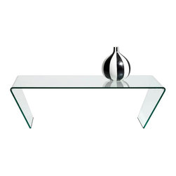 Glass Coffee Table - Coffee table, clear glass. H14xW47¼xD27¾""