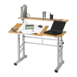 """Safco - Safco Height Adjustable Split Level Drafting Table - Safco - Drawing Tables - 3965MO - This adjustable split level drafting table is designed to function as your personal drafting table work space and shelving area computer desk and more. The table top can easily be lowered to serve as one flat working surface or raised to perform as a standing height workstation. Perfect for drafting the table top tilts up to a 50 degrees angle. Height adjustment of 26 to 37-1/4 """". The modern style and many utilities of the Height Adjustable Split Level Drafting Table make it the ideal workstation."""