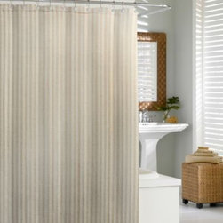 Kassatex - Kassatex Linen Chevron 72-Inch x 72-Inch Shower Curtain - This Kassatex Linen Chevron shower curtain adds both style and elegance to any bathroom. This shower curtain is made of 50% linen and 50% cotton and features subtle toned colors.