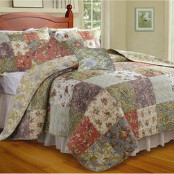 None - Blooming Prairie 5-piece King-size Cotton Quilt Set - Bring a touch of country charm to your bedroom with this Blooming Prairie king-size quilt set. The comforter and shams feature patchwork quilting made of differing flowered patches, and the quilt is oversized, making it ideal for use on deep mattresses.