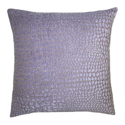 Squarefeathers - Heather, Cheetah Pillow - Full of different shades of purple, the Heather pillow collection is eye catching and beautiful! Made of textured chenille and rayon with a knife edge trim. It has a soft and pump feataher/down insert inclosed with a zipper. Like all of our products, this pillow is handmade, made to order exclusively in our studio right here in the USA.