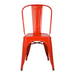 sugarSCOUT - Custom Painted Tolix-Style High-Back Side Chair, Red - Go bright....go colorful.