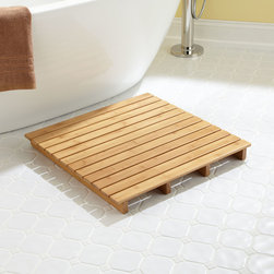 "24"" Square Bamboo Bath Mat - Natural bamboo on the 24"" Square Bath Mat makes a smooth and minimalist landing spot after a shower or bath."