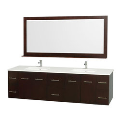 """Wyndham Collection - Wyndham Centra Vanity 80"""" Espresso - Simplicity and elegance combine in the perfect lines of the Centra vanity by the Wyndham Collection . If cutting-edge contemporary design is your style then the Centra vanity is for you - modern, chic and built to last a lifetime. Available with green glass, white carrera marble or pure white man-made stone counters, and featuring soft close door hinges and drawer glides, you'll never hear a noisy door again! The Centra comes with porcelain, marble or granite sinks and matching mirrors. Meticulously finished with brushed chrome hardware, the attention to detail on this beautiful vanity is second to none."""