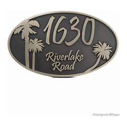 """Oval Palm Tree Address Plaque 15"""" x 9"""" in SIlver Nickel - Although palm tree fossils have been dated as far back as 80 million years, and fig palms were cultivated over 5,000 years ago, the palm tree image, for most of us, signifies sunshine, easy living, and drinks with little umbrellas shading tropical fruit garnishes."""