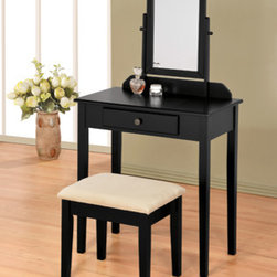"Asia Direct - Black Finish Wood 3-Piece Bedroom Vanity Set with Mirror and Stool - Black finish wood 3-piece bedroom vanity set with mirror and stool. Vanity includes the vanity table with drawer, mirror and stool with upholstered seat. Vanity measures 28"" x 16"" x 50"" H. Some assembly required. Also available in white and espresso."