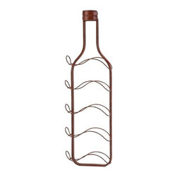 "IMAX - Lerwich Red Wine Bottle Holder Wall Decor - In a retro color and stylized form, the Lerwich wine bottle holder wall decor attractively holds up to five bottles of wine in their optimal side position. Item Dimensions: (33""h x 10""w x 4"")"