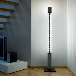 Aurora Tower 180 Floor Lamp By Lumina Lighting - Aurora Tower 180 by Lumina is the floor model in the Aurora collection. The light is characterized by the elegance and charm of its models that play with refraction of light through the milled optical glass.