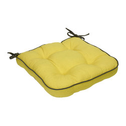 None - Yellow Organic Cotton Seat Cushion (Set of 2) - Add some extra comfort to your favorite seat with these organic seat cushions. The yellow material brightens your decor,and the attached corner ties let you easily secure the cushion to the chair.