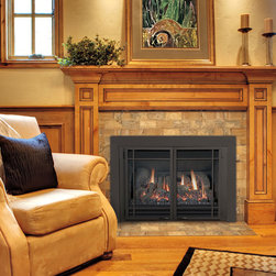 For The Fireplace #19 - The Chaska™ gas fireplace insert by Kozy Heat® converts an existing masonry wood fireplace into an efficient gas fireplace, and does it with style!
