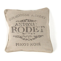 """Zentique - French Pillow, """"Bourgogne A. Rodet Antonin Rodet Pinot Noir"""" - The French Pillow collection features a natural linen pillow with variations to choose from."""