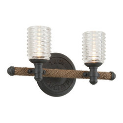 Troy - Embarcadero Shipyard Bronze and Antique Manila Rope Two Light Vanity Fixture - - Bulb Not Included  - Shade Information: Pressed Ribbed Glass Troy - B4152